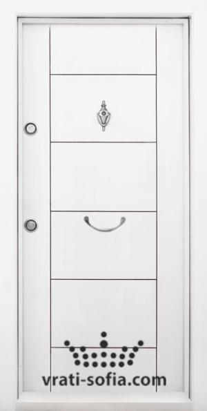 Входна блиндирана врата Т102, цвят Бял