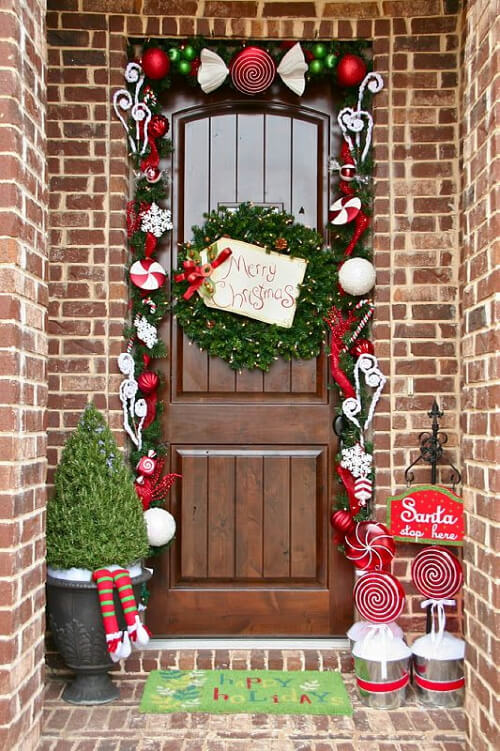 Идеи за украса на входната врата за Коледа