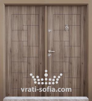 Двукрилна входна врата Т 100, цвят Спарта
