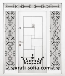 Еднокрилна входна врата Т 100, цвят Бял