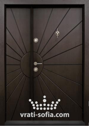 Еднокрилна входна врата Т 109, цвят Тъмен орех