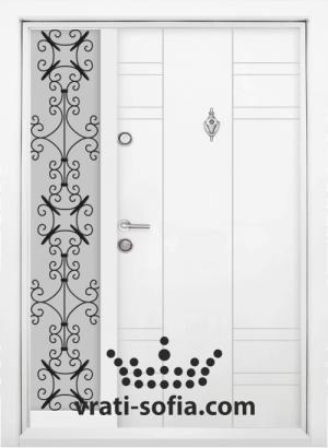Еднокрилна входна врата Т 598, цвят Бял