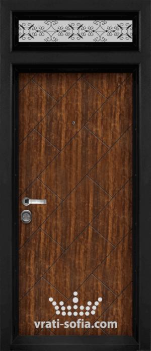 Еднокрилна входна врата със стъклен панел Т 904, цвят Сахара